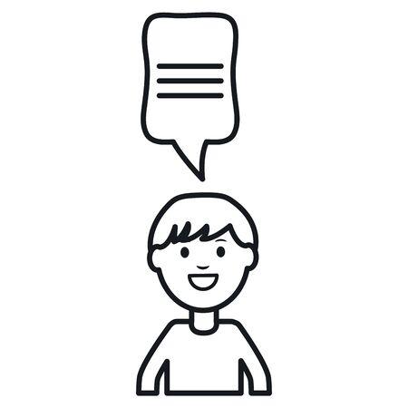 monochrome man with speech bubble avatar character vector illustration design