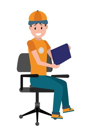 young man sitting on the office chair cartoon vector illustration graphic design Foto de archivo - 129813381