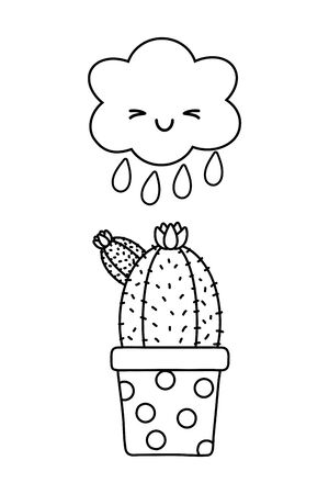 cactus with cloud icon cartoon black and white vector illustration graphic design