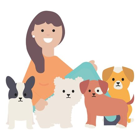 young woman with little dogs adorables mascots Standard-Bild - 129817444