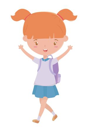 Girl kid design, School education learning knowledge study and class theme Vector illustration Çizim