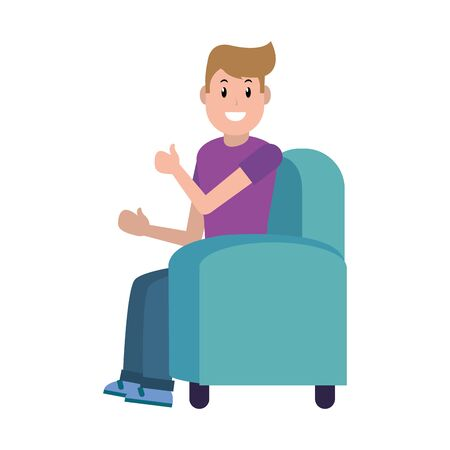 young man sitting on the couch cartoon vector illustration graphic design Foto de archivo - 129813399