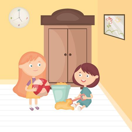 little girls playing with toys in the room vector illustration design Illusztráció