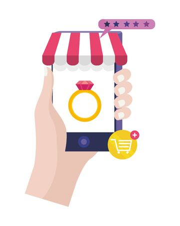 Hand holding smartphone design, Store shopping online ecommerce media market and internet theme Vector illustration