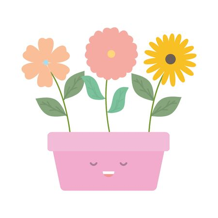 garden flowers plant in square pot kawaii character vector illustration design