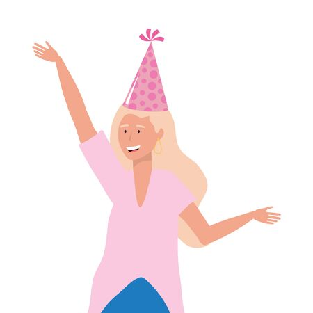Woman cartoon with hat design, happy birthday celebration decoration party festive and surprise theme Vector illustration Çizim