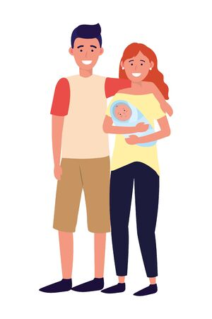 couple with baby avatar cartoon character vector illustration graphic design