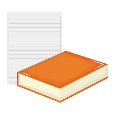 sheet of notebook paper with book Stok Fotoğraf - 129817469