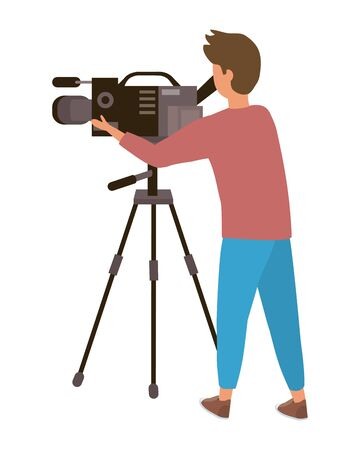Man holding videocamera design, Media film technology equipment movie digital camcorder and cinema theme Vector illustration