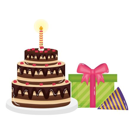 gift box present with sweet cake and party hat vector illustration design