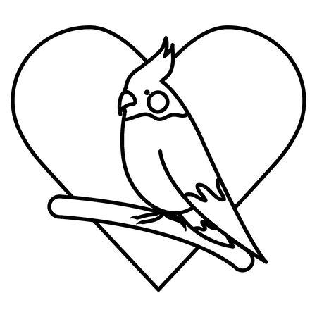 cute little bird adorable mascot with heart