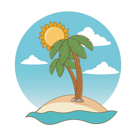beach with palms and sun cartoon round label summer and travel vector illustration editable design