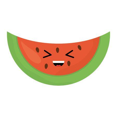 delicious watermelon fruit kawaii character vector illustration design