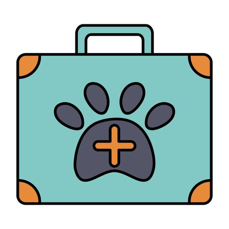 medical kit veterinary with pawprint vector illustration design