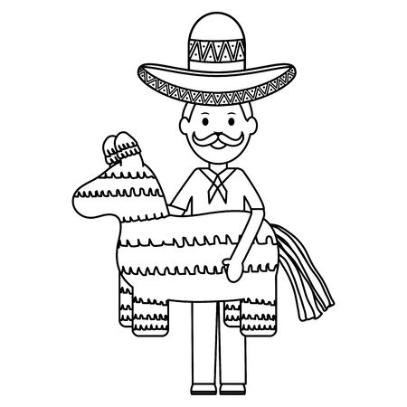 mexican man with mariachi hat and pinata vector illustration design