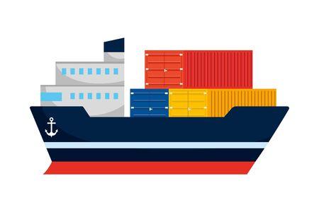 cargo big ware ship cartoon Иллюстрация