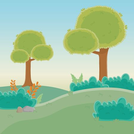 Trees in forest design, Green environment nature landscape and foliage theme Vector illustration Иллюстрация