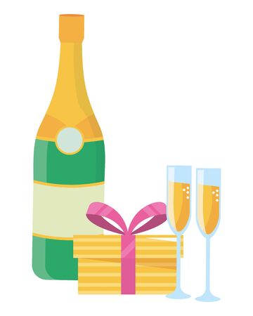 Champagne bottle design, Alcohol drink beverage restaurant celebration and party theme Vector illustration