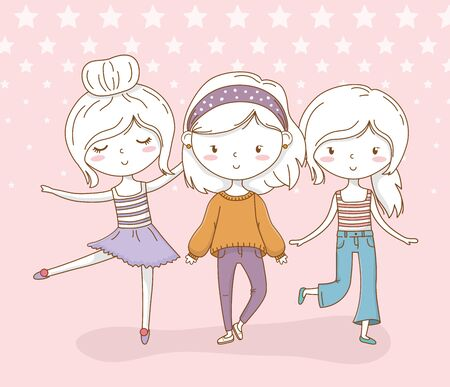 little girls group with pastel colors and dotted background vector illustration design