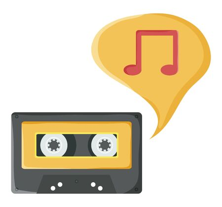 retro music cassette with speech bubble and music note