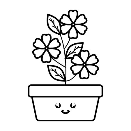 garden flowers and leafs in square pot character Stock Illustratie