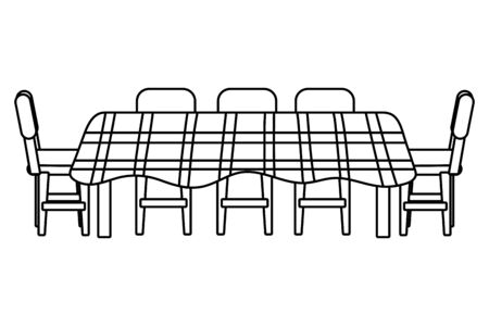 table icon cartoon with chair and cloth black and white vector illustration graphic design