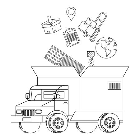 truck with a big box in the back and transport elements globe, pushcart, location pointer icon cartoon vector illustration graphic design