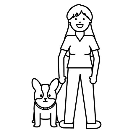 young woman with little dog adorable mascot