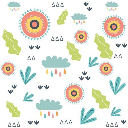 Flowers and leaves design, floral nature plant ornament garden decoration and botany theme Vector illustration Ilustração
