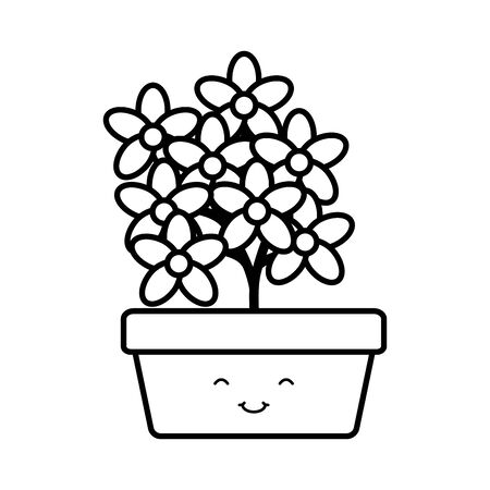 garden flowers plant in square pot character Stock Illustratie