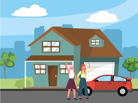 casual happy people women friends in front urban house home cartoon vector illustration graphic design Ilustração