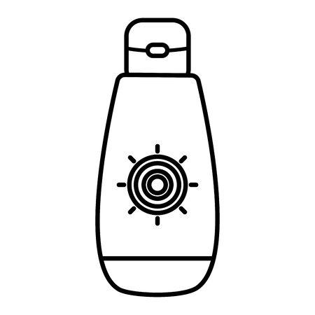 solar blocker bottle summer product vector illustration design