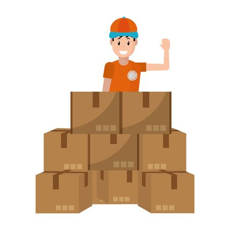 delivery guy with boxes pile vector illustration graphic design