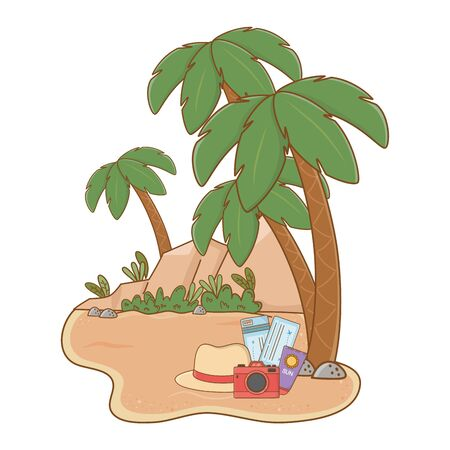 landscape beach on sand with camera hat sunscreen tickets and hat summer and travel vector illustration editable design Çizim