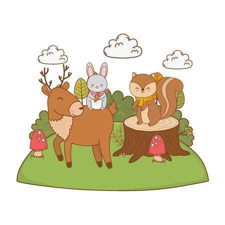 cute animals in the field woodland characters vector illustration design Çizim