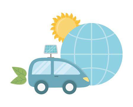 Eco car and save planet design Ilustração