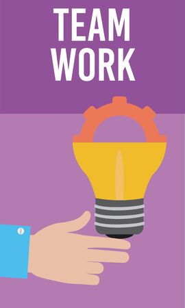 Hand with gear inside bulb light teamwork cartoons vector illustration graphic design