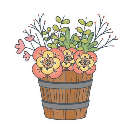 floral nature flowers inside wooden plant pot cartoon vector illustration graphic design Stock Illustratie