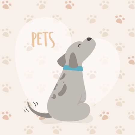 dog mascot character with heart and paw prints background Illustration