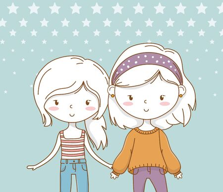 beautiful little girls couple with pastel colors vector illustration design