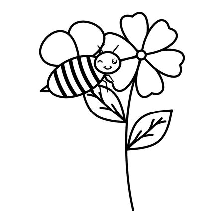 flowers garden with little bee flying character Illustration