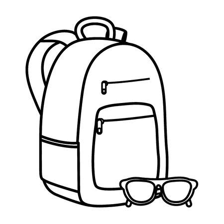 schoolbag with summer sunglasses accessory Ilustração