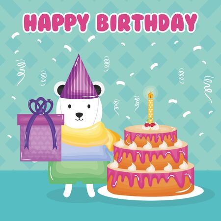 happy birthday card with polar bear and cake vector illustration design  イラスト・ベクター素材