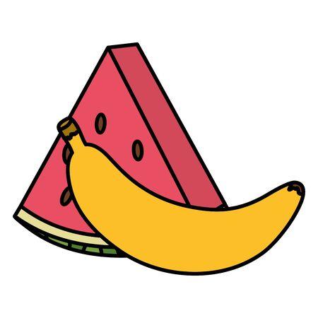 fresh watermelon and banana fruits vector illustration design