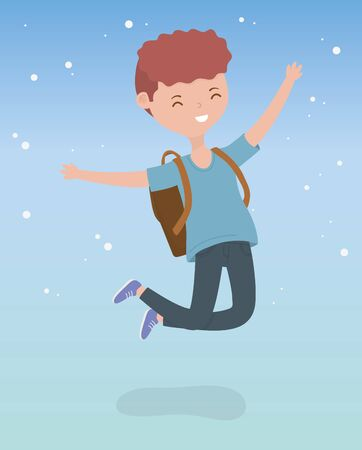 happy young man celebrating jumping character vector illustration design Иллюстрация