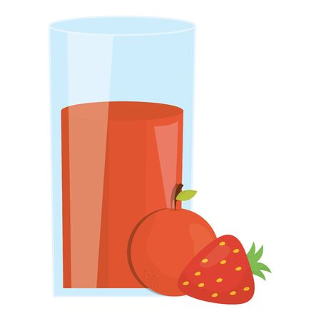 fresh orange and strawberry juice fruits in glass vector illustration design 일러스트