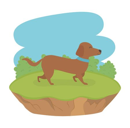 cute little dog mascot in the field character Illustration