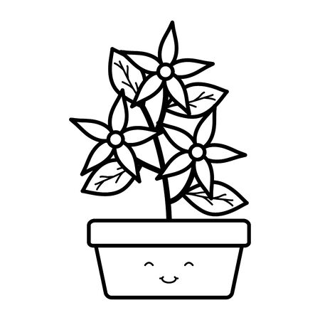 garden flowers and leafs in square pot kawaii character