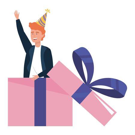 Man cartoon inside gift design
