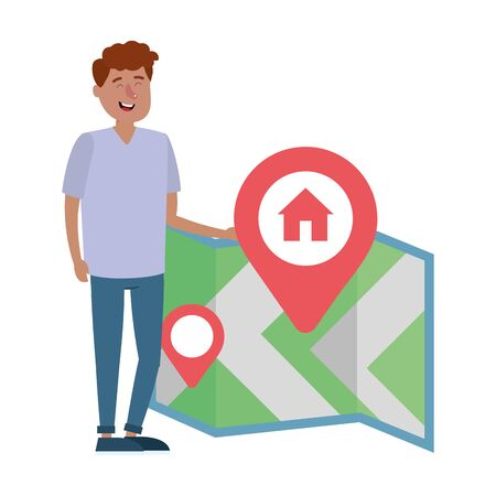 real estate man looking for house to buy with gps map location cartoon vector illustration graphic design
